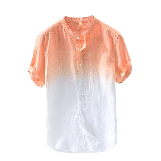 Summer Shirts Cool Thin Breathable Cotton Button Down Collar Men Top Gradient Dye Color Shirt M XL