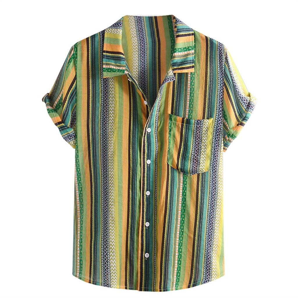 Men's Button Shirt Colorful Orange Stripe Collar Short Sleeve Loose Henley Men Shirt Top M-3X