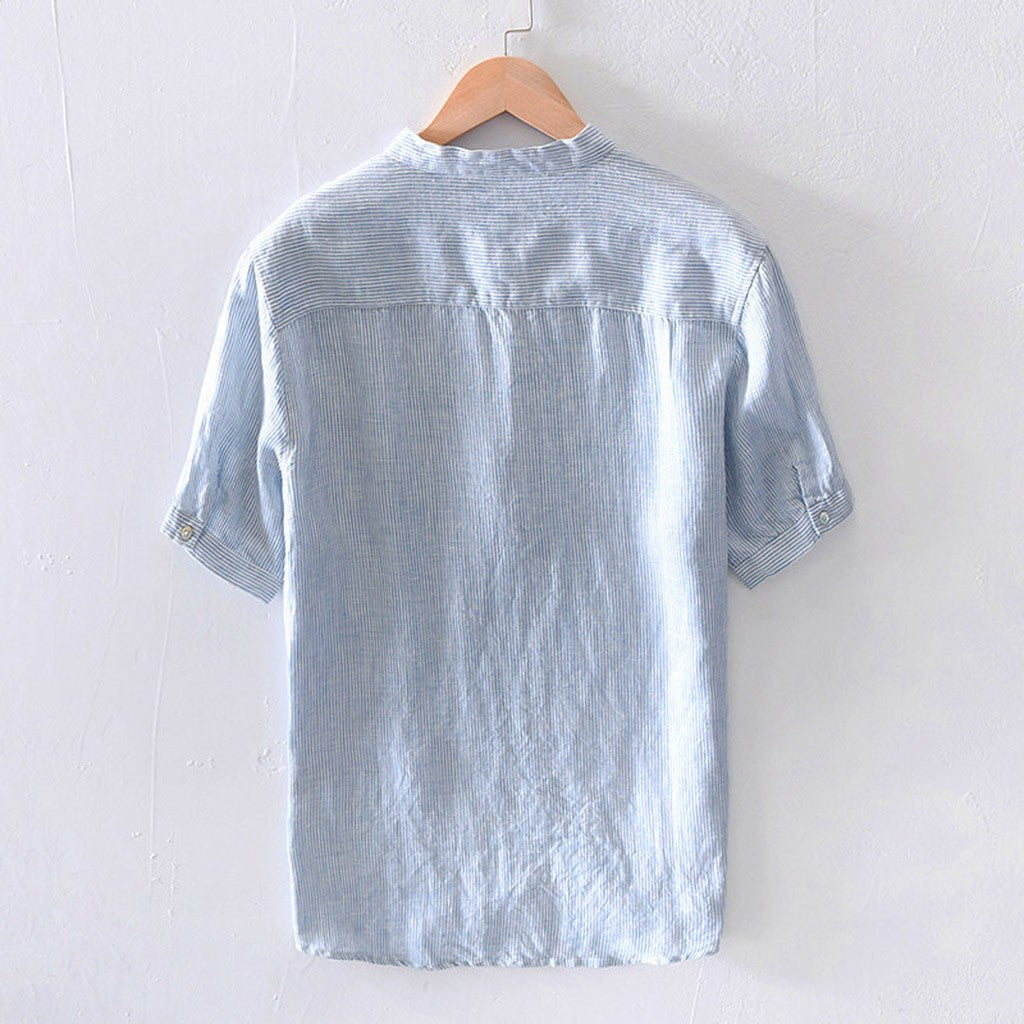 Men's Stripe Shirt Breathable Cotton Short Sleeve Button Pocket Blue Gray Green Red Shirts M-3XL