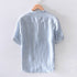 Men's Stripe Shirt Baggy Breathable Cotton Linen Short Sleeve Button Pocket Red Shirts Top M-3XL