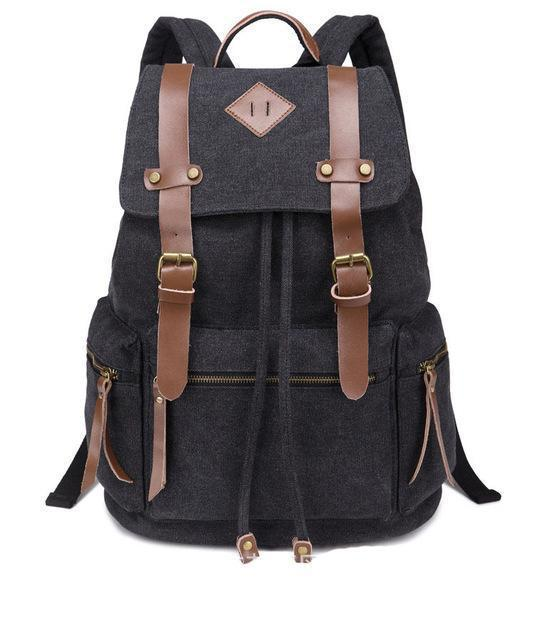 Pink Canvas Vintage Backpack Rucksack Leather Military Men Womens School Bags Girls Mochilas Laptop Backpack Escolares Multi-Colors - Travell Well