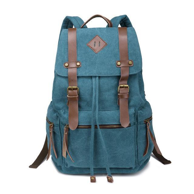 New Canvas Vintage Backpack Rucksack Khaki Tan Leather Military Men Womens School Bags Mochilas Laptop Backpack Boys Girls Escolares Multi-Colors - Travell Well