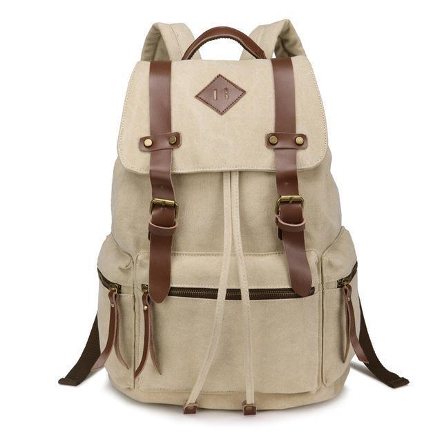 Orange Canvas Vintage Backpack Rucksack Leather Military Men Women's School Bag Mochilas Laptop Backpack Escolares Multi-Colors - Travell Well