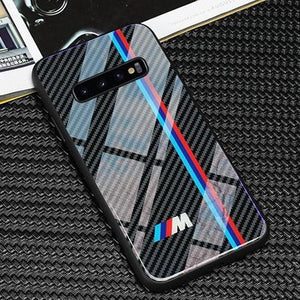 Glossy Carbon Fiber Case With Car Logos For Galaxy S10 S10 Plus