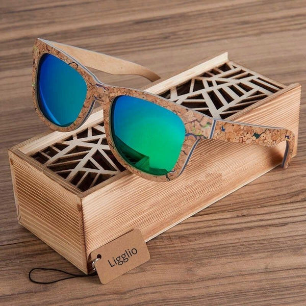 Ligglio | Unisex | Polarized Lens Sunglasses | Unique Cork Wood | LAG021