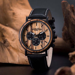 Amasi | Men's African Wooden Watch with Leather Band | Zebrawood | LGP009-2A