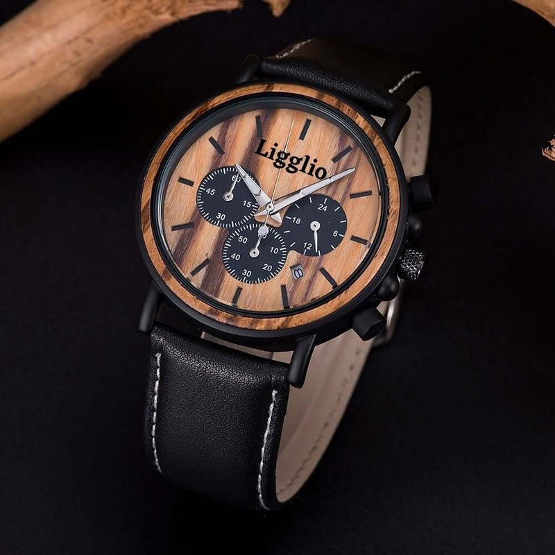 best original grain wooden watch with leather band