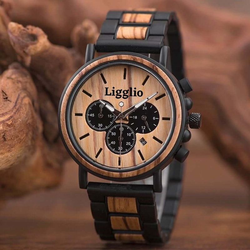 Banta | Men's African Wooden Watch with Wooden Band | Zebrawood | LGP009-1A