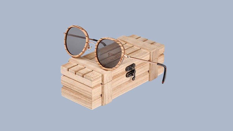 Ligglio | Oval Women Polarized Wooded Sunglasses in Wooden Gift Box | LAG027