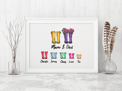 Wellies Family Personalised White Print
