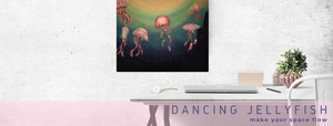 Painting of five, pink jellyfish on wall in minimalist home office.