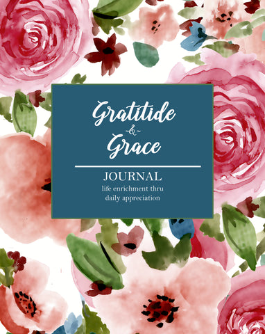 Floral journal cover that says gratitude and grace.