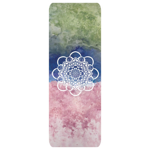 Mossy green, blue and pink watercolor design on a yoga mat. A white mandala is in the middle.