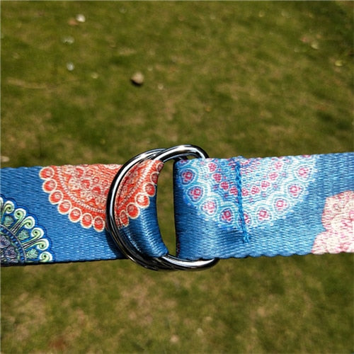 Printed Adjustable Yoga Belt Yoga Stretch Belt Washable Sport Stretch Strap D-Ring Belts Yoga Strap Fitness Rope 183x3.8cm