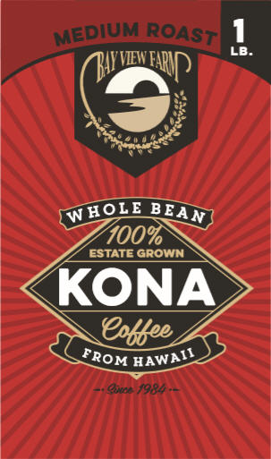 Medium Roast 100% Kona Coffee 7oz, 1lb, Whole Bean or Ground - The Bay View Coffee Farm in Kona, Hawaii