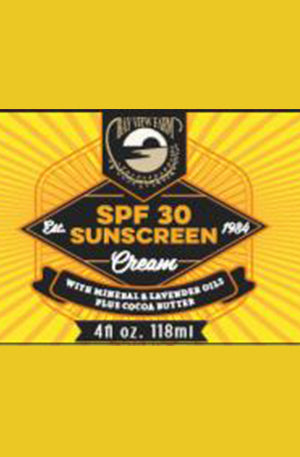 Bay View Farm SPF 30 sunscreen