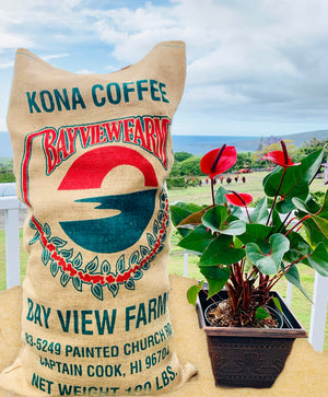 Burlap Coffee Bags - The Bay View Coffee Farm in Kona, Hawaii