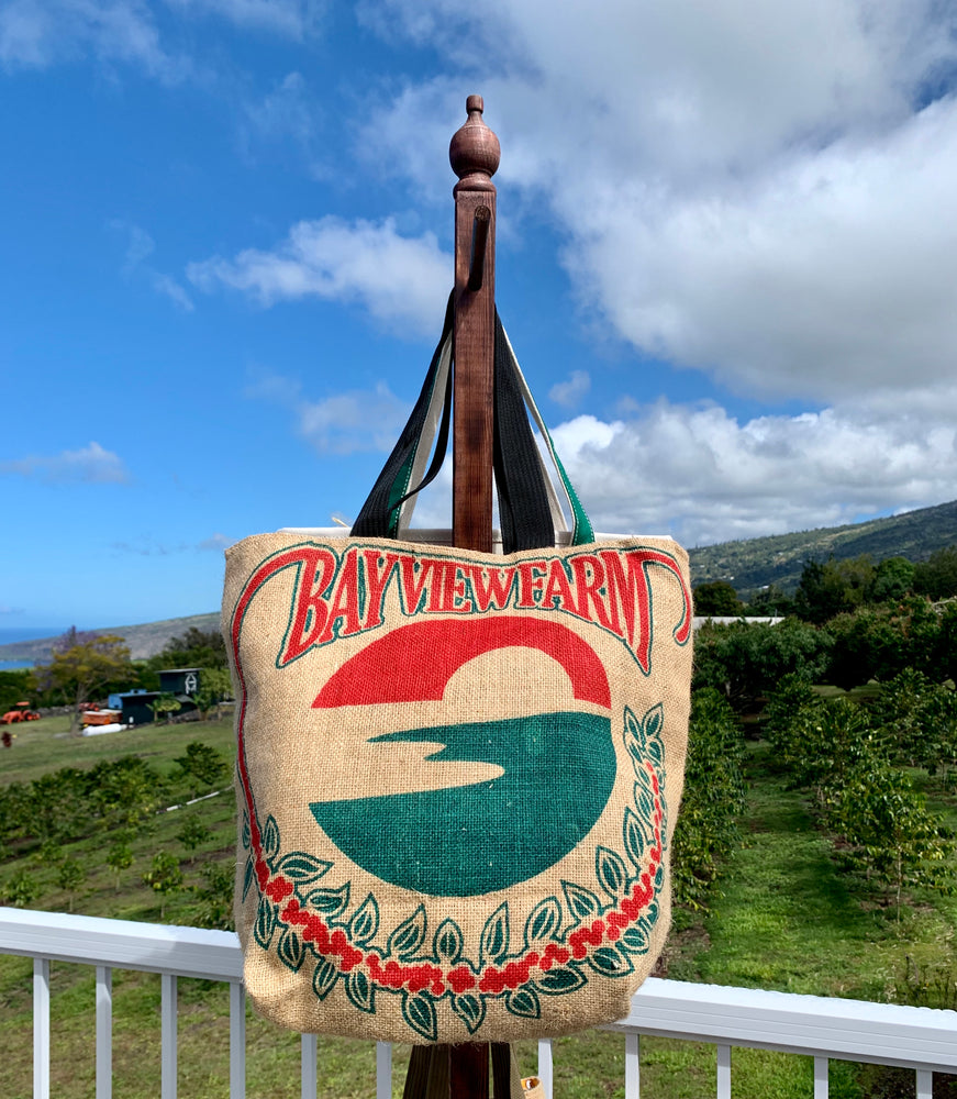 Burlap Bag Totes - The Bay View Coffee Farm in Kona, Hawaii