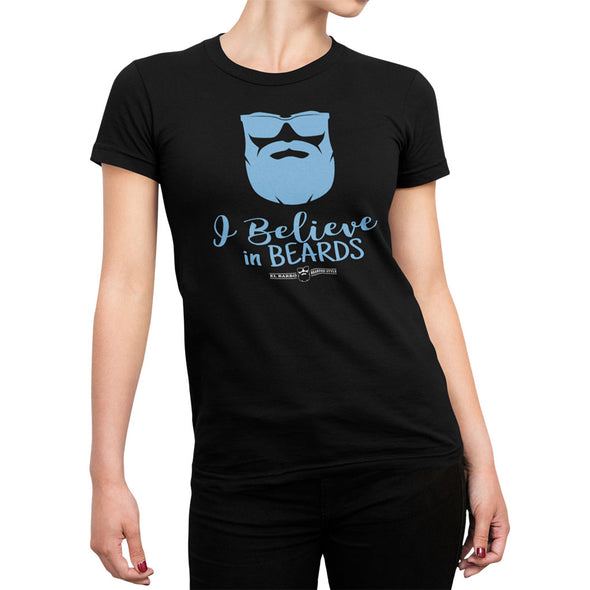 T-shirt femme barbu - I believe in beards - el-barbo
