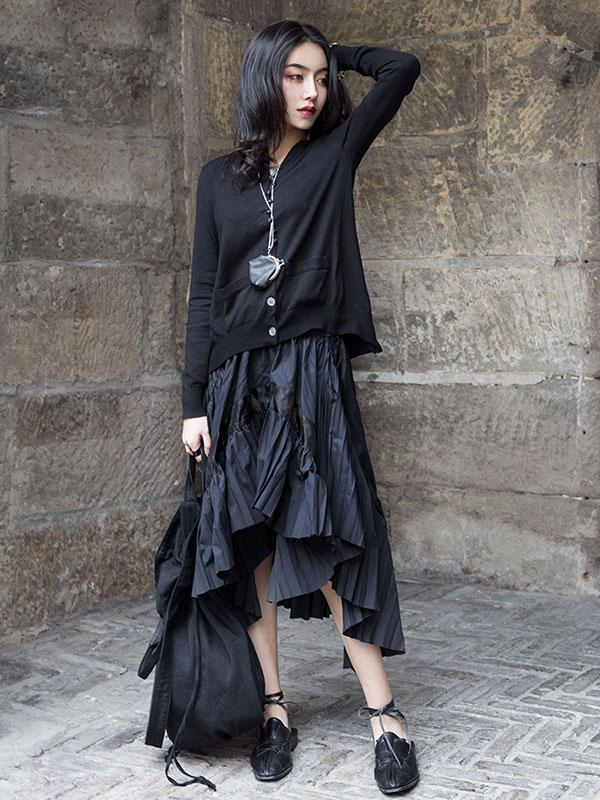 Black Hollow Irregular Fold Skirt
