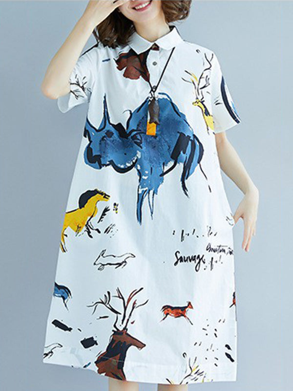 2019 Summer New  Oversize Printed T-Shirt Dress