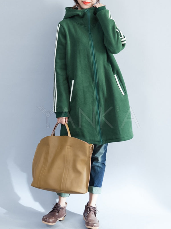 Loose Zipper Velvet Hoodie Long Coat