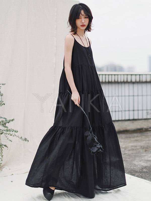 Loose Solid Pleated Splicing Sleeveless Dress