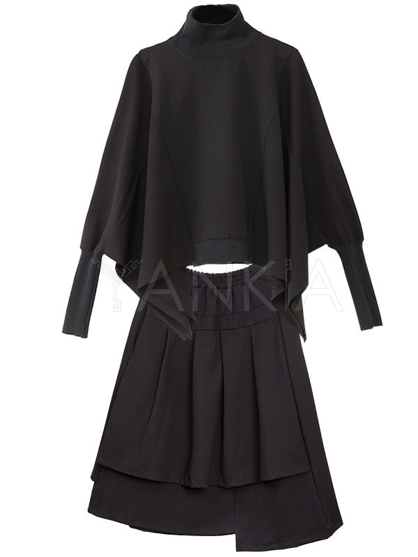 Black Solid Blouses&Skirt Suits
