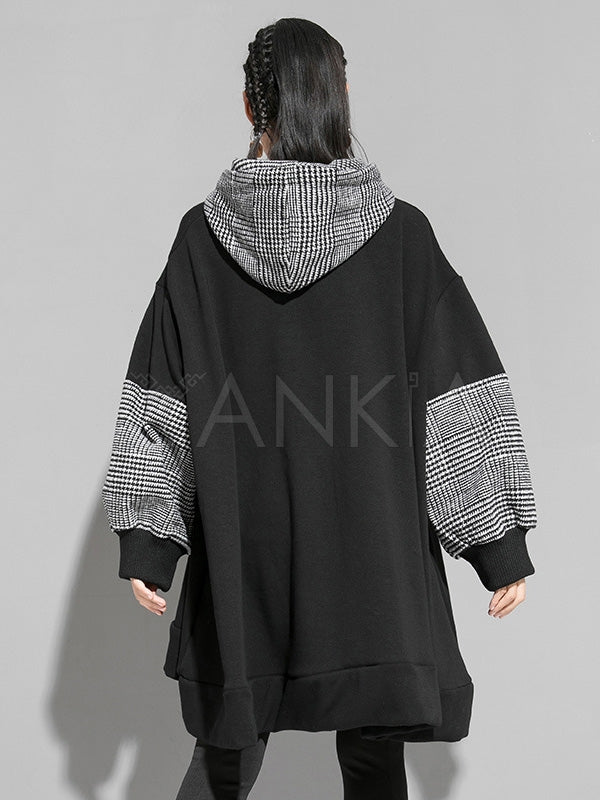 Plain Splicing Plaid Long Hoodie