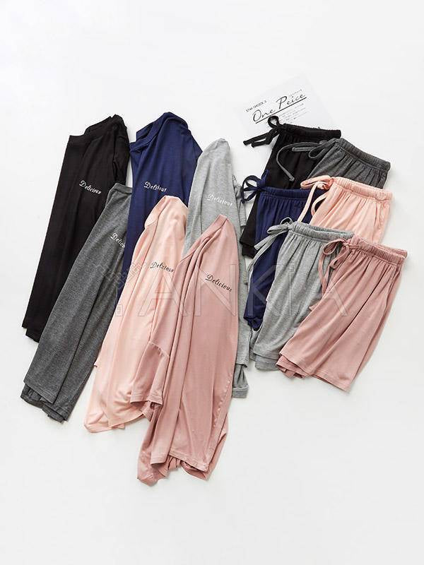 Comfortable Two-Pieces Short Sleeves Solid Pajama