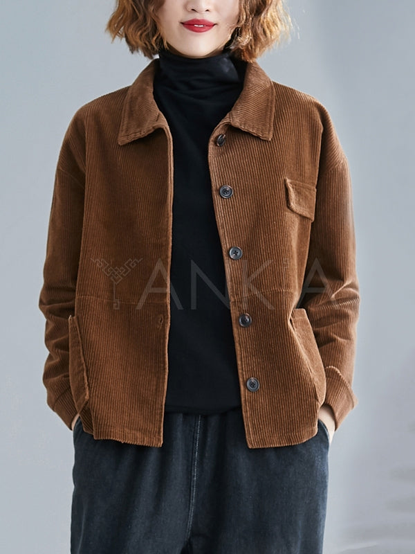 Vintage Loose Corduroy Casual Coat
