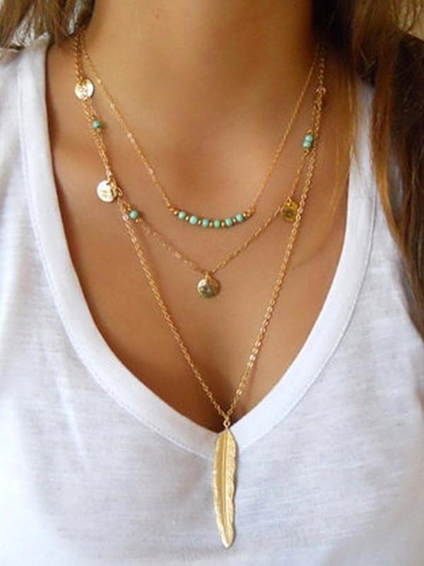 Sequined Alloy&Turquoise Necklaces