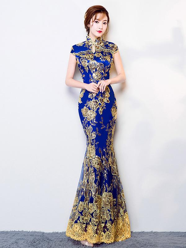 Blue Lace Embroidered Mermaid Cheongsam Evening Dress