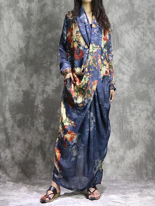 Soft Silk Chiffon Floral Bottoming Vest+Long Dress