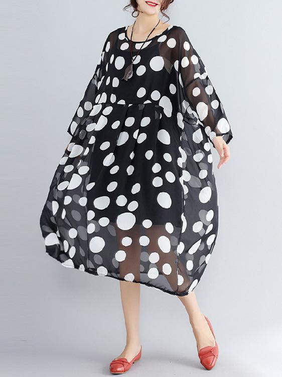 Polka dot Round-neck Plus Size Two-pieces Midi Dress