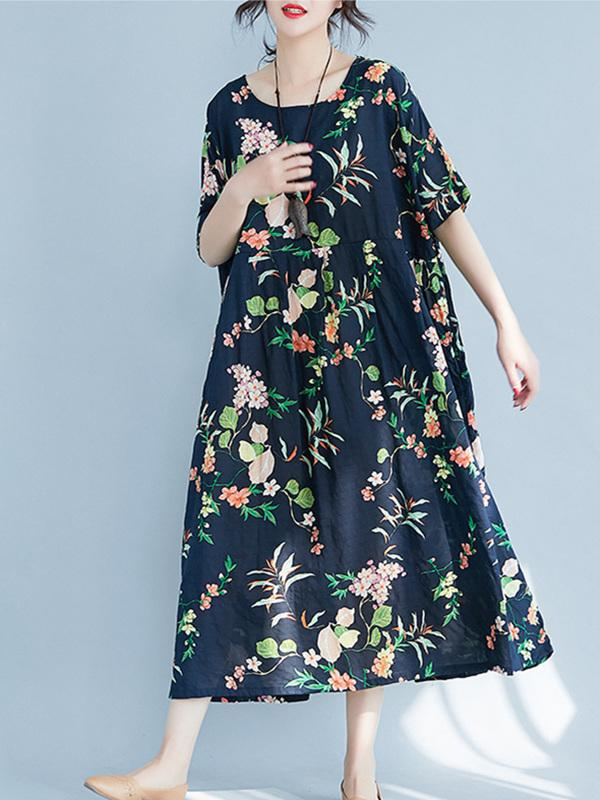 Fresh floral Printed Loose Midi Dress