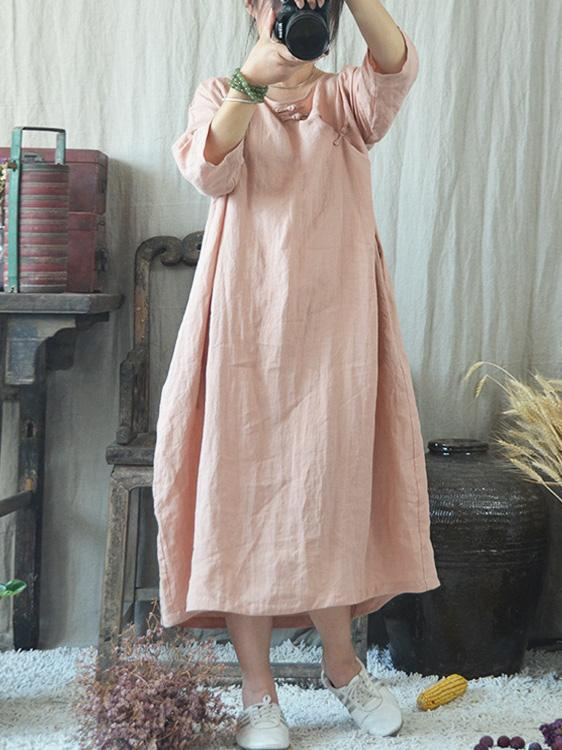 Loose Comfortable button Long Sleeve Dress