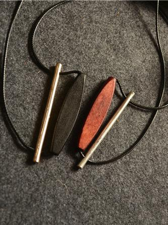 Simple Alloy Wood Oval Necklace