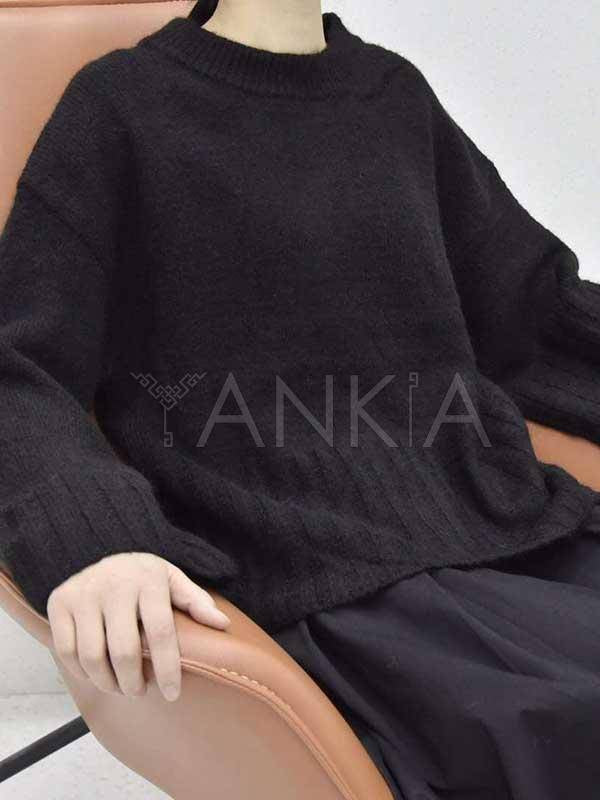 Black Simple Knitting Round Neck Sweater Top
