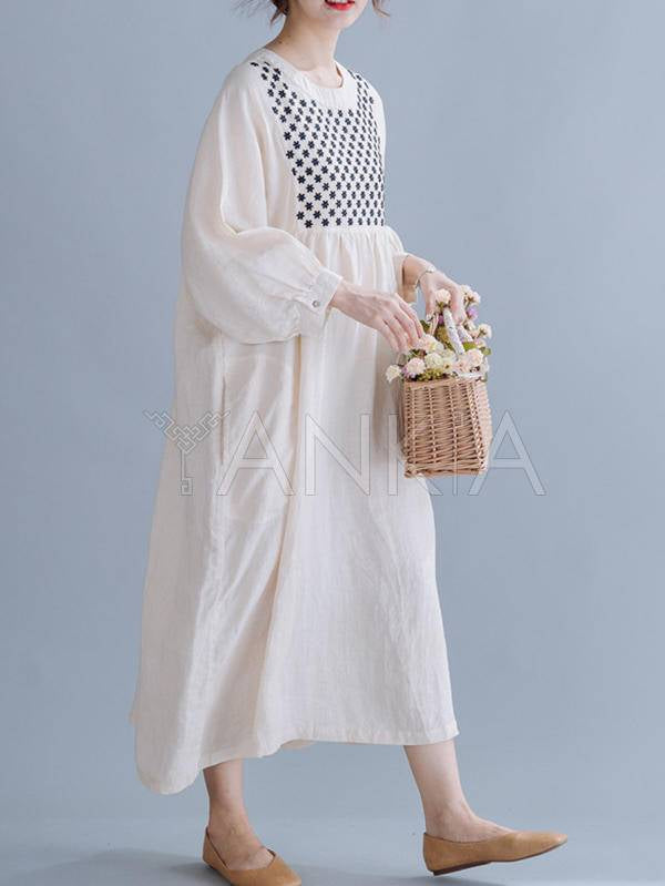 Loose Splicing Embroidered Dress