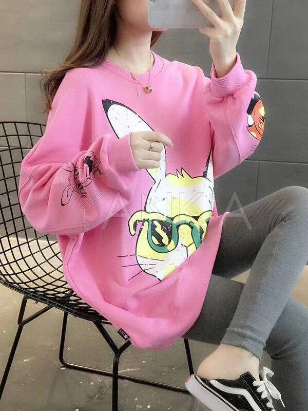 Rabbit Print Loose Casual Sweatshirt