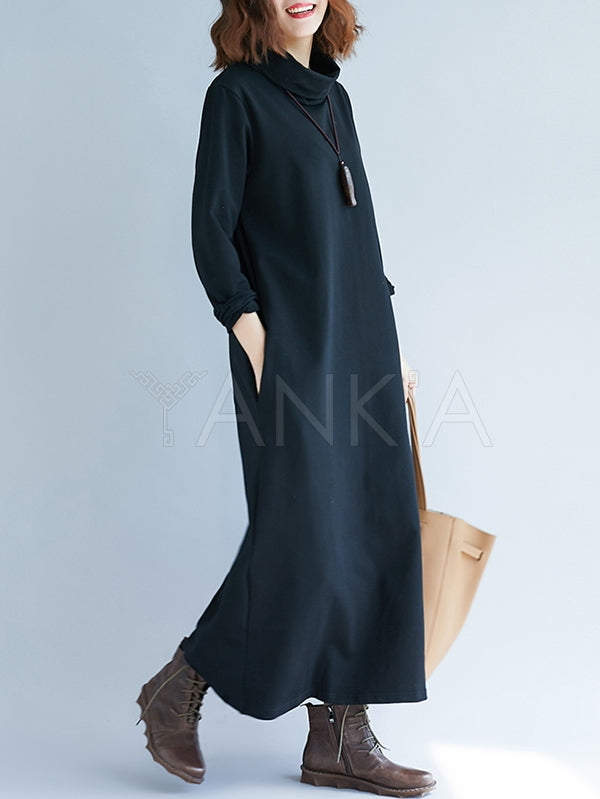 Loose Plain Turtleneck Midi Dress