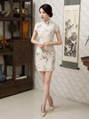 Linen Flower Print Short Cheongsam Dress