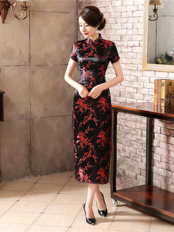 Black Red-flower Print Split-side Long Cheongsam