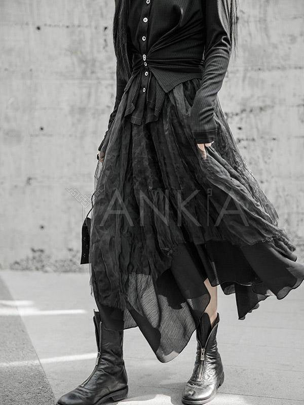 Black Cropped Pleated Bubble Skirt