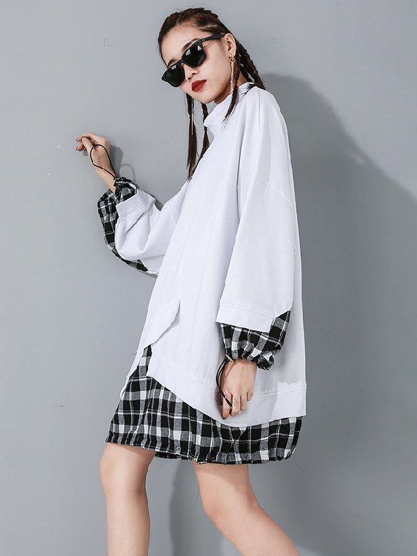 Plaid Splicing Cropped False Two Long Sweatshirt