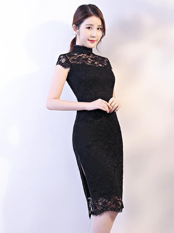 Black Lace See-through Split-side Short Cheongsam