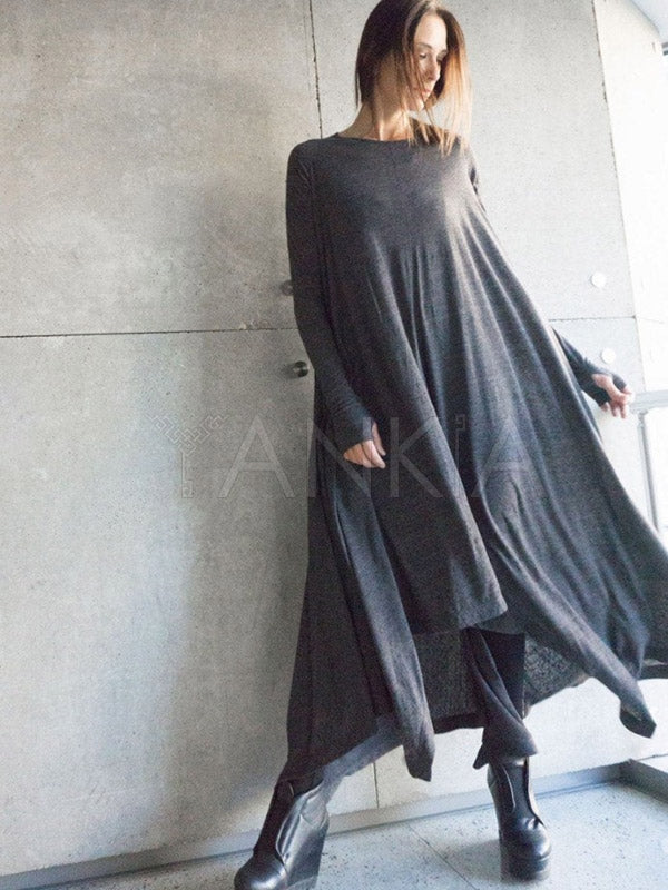 Soft Dark Gray Long Sleeves High-low Dress