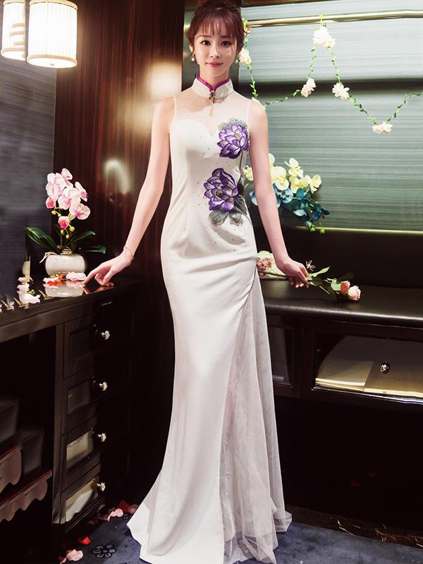 White Embroidered Long Cheongsam Evening Dress