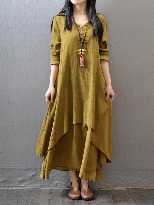 Solid Color 3/4 Sleeves Ramie Cotton Dress